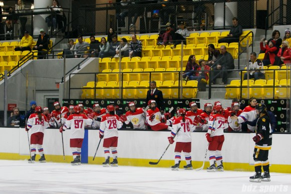 The Russian National Team celebrates a goal