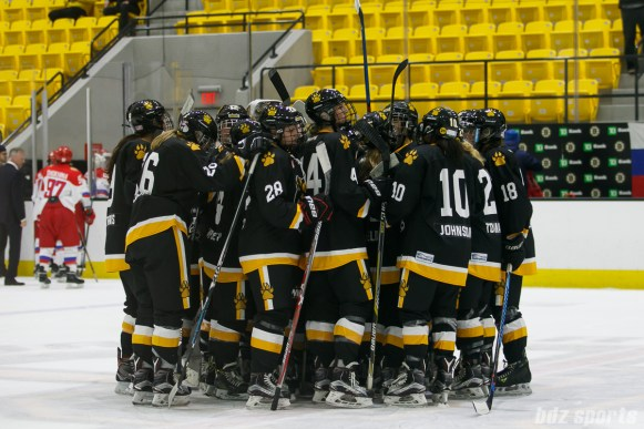The Boston Pride huddle after losing to the Russian National Team 4 - 3 in a shootout