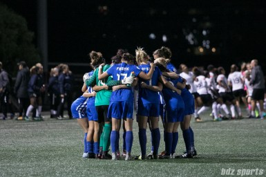 The Boston Breakers huddle before the start of their game against Sky Blue FC on September 30, 2017