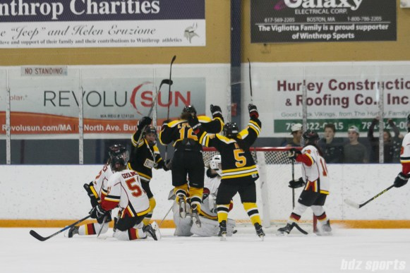 The Boston Blades celebrate Boston Blades forward Kaitlin Spurling's (16) goal