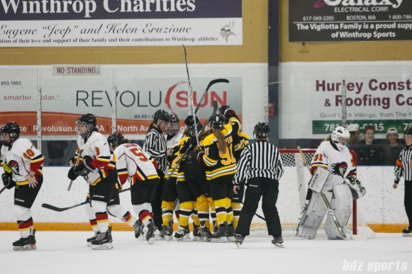 The Boston Blades celebrate Boston Blades forward Kaitlin Spurling's (16) first period goal