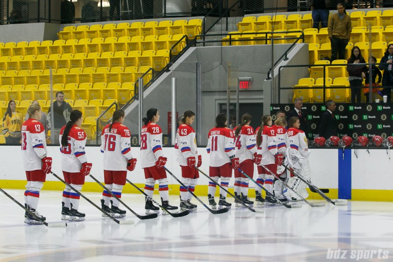 The Russian National Team stand for the playing of the national anthems