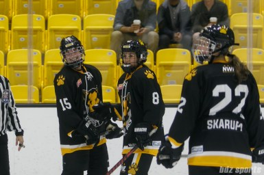 Boston Pride forwards Emily Field (15), Dana Trivigno (8), and Haley Skarupa (22)