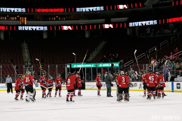 The Metropolitan Riveters acknowledge the fans after their season opener win over the Boston Pride