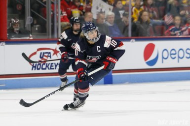 Team USA forward Meghan Duggan (10) (a.k.a. Captain America)