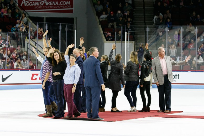 Members of the 1998 Team USA Olympic gold medal ice hockey team are recognized after the first period of the USA vs Canada Time is Now Tour game on October 25, 2017