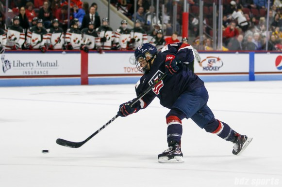 Team USA forward Brianna Decker (14) takes a shot on goal