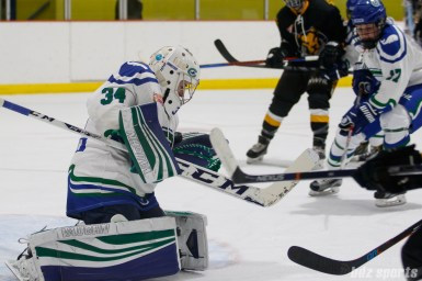 Connecticut Whale goalie Sydney Rossman (34) collects the puck