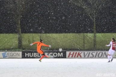 FC Twente goalie Nicky Evrard (1) punts the ball