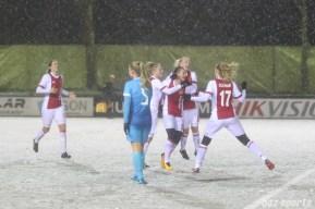 Ajax celebrates midfielder Desiree van Lunteren's (10) goal