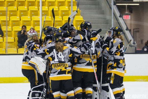 The Boston Pride celebrate their 3-2 win over the Buffalo Beauts on December 2, 2017