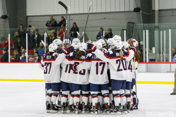 Team USA huddles after defeating Team NWHL 3-0 on January 13, 2018