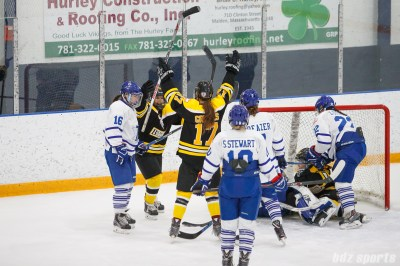 Boston Blades forwards Michelle Ng (5) and Meghan Grieves (17) celebrate Boston's second goal of the game