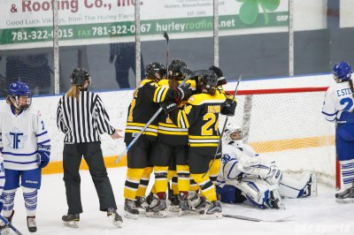 Boston Blades celebrate their second goal of the game and take a 2-0 lead in the first period