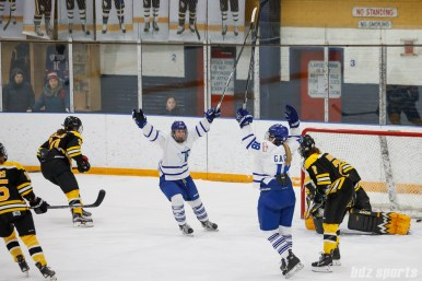 Toronto Furies forward Danielle Gagne (18) celebrates after scoring the Furies second goal of the period
