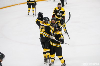 The Boston Blades celebrate Megan Myers' (15) goal