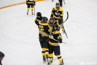 The Boston Blades celebrate Megan Myers' (15) goal
