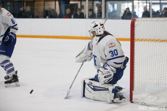 Toronto Furies goalie Sonja van der Bliek (30) blocks a shot on goal