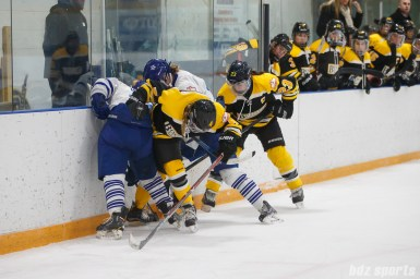 Boston Blades and Toronto Furies players battle for a puck along the boards