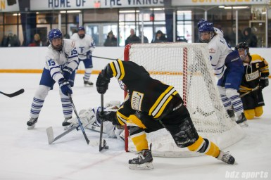 The Toronto Furies look to keep the puck from going over the goal line