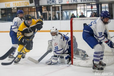 Toronto Furies goalie Sonja van der Bliek (30) tracks the puck as it goes behind the goal