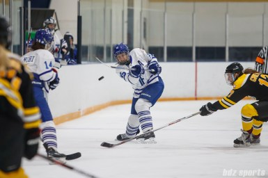 Toronto Furies defender Carlee Campbell (15) sends the puck down the ice