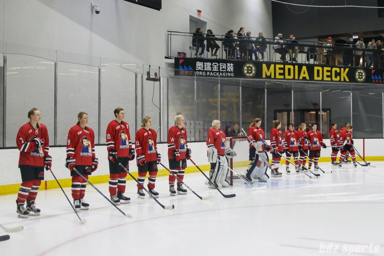 The Metropolitan Riveters line up for starting lineup announcements