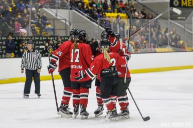 The Metropolitan Riveters celebrate Kelsey Koelzer's goal