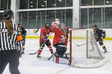 Metropolitan Riveters goalie Katie Fitzgerald (35) grabs the puck out of the air
