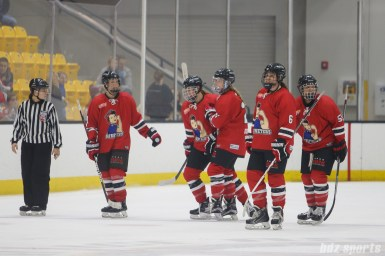 The Metropolitan Riveters celebrate teammate Rebecca Morse's (9) goal in the third period