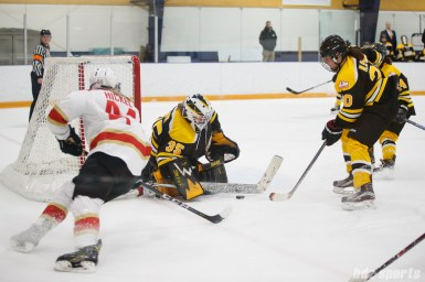 Boston Blades goalie Lauren Dahm (35) comes up with a save