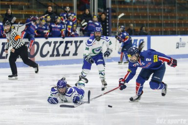 Connecticut Whale defender Shannon Doyle (6) dives to push the puck away from Team South Korea forward Hye In Ko (2)