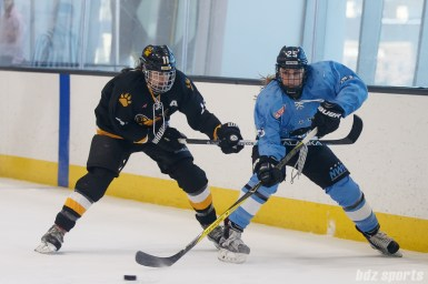 Buffalo Beauts defender Jacquie Greco (25) dishes off the puck while Boston Pride forward Jordan Smelker (11) challenges