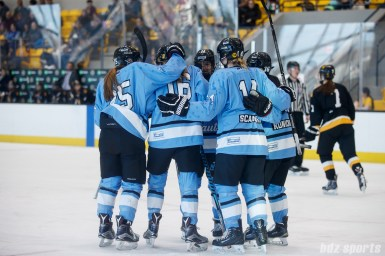 The Buffalo Beauts celebrate forward Hayley Scamurra's (14) goal assisted by forward Maddie Elia (16)