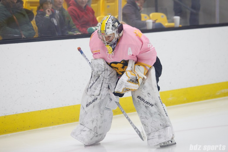 Boston Pride goalie Brittany Ott (29) preps for the start of the period