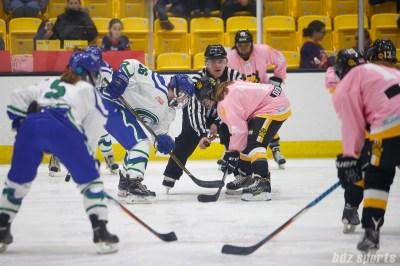 Connecticut Whale forward Heanna Beattie (16) takes the faceoff against Boston Pride forward Jillian Dempsey (14)