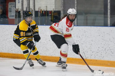 Kunlun Red Star forward Madison Woo (15) controls the puck for Red Star while being defended by Boston Blades defender Jordan Hampton (91)