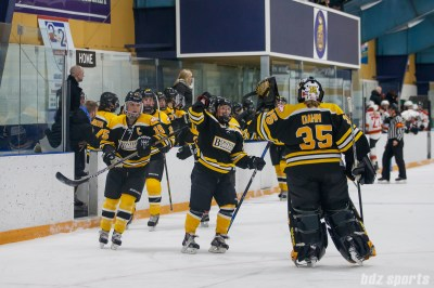 Boston Blades forward Kate Leary (28) high fives teammate goalie Lauren Dahm (35) after scoring the game's opening opening goal