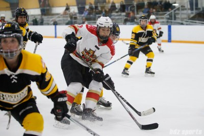 Kunlun Red Star defender Melanie Jue (6) looks for the puck