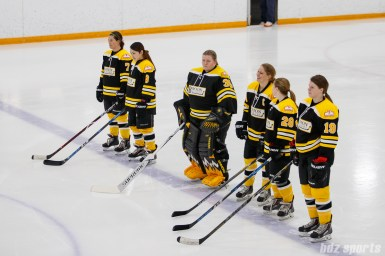 The starting line for the Boston Blades: Taylor Wasylk (19), Kate Leary (28), Megan Myers (15), Sato Kikuchi (35), Sato Kikuchi (8), and Dru Burns (7)