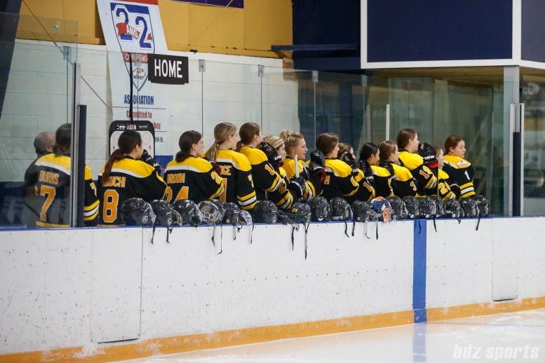 The Boston Blades stand for the playing of the national anthem