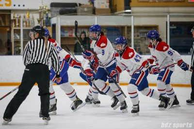 The Montreal Les Canadiennes is all smiles after teammate Caroline Ouellette (13) scored her 131st career goal