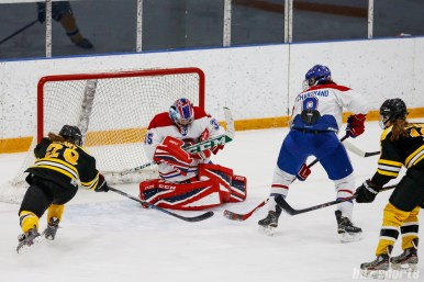 Montreal Les Canadiennes goalie Marie-Soleil Deschenes (35) comes up with the save