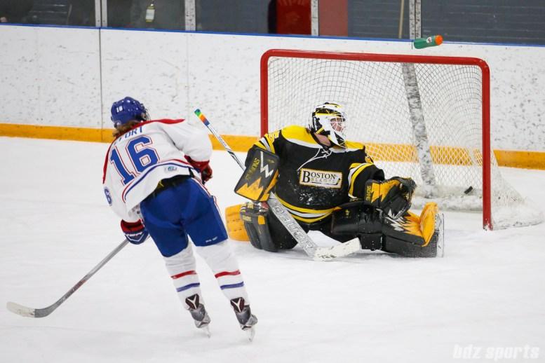 Montreal Les Canadiennes forward Sarah Lefort (16) beats Boston Blades goalie Lauren Dahm (35) in the shootout to give the Les Canadiennes a 5-4 shootout win over the Blades