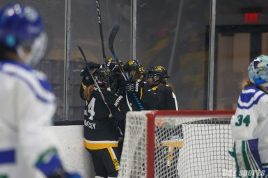 The Boston Pride celebrate Pride forward Jillian Dempsey's (14) goal