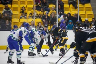 Connecticut Whale defender Hanna Beattie (16) takes the face-off against Boston Pride forward Dana Trivigno (8)