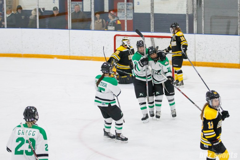 The Markham Thunder celebrate center Melissa Wrongzberg's (28) goal