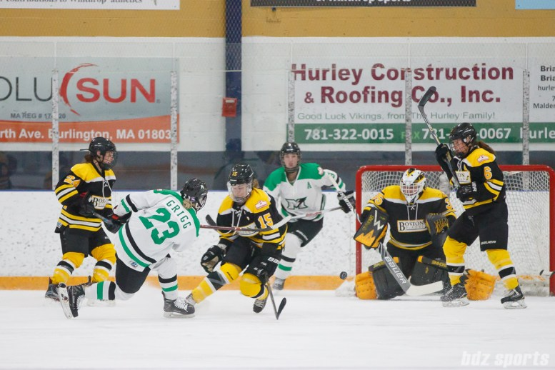 Markham Thunder defender Lindsay Grigg (23) takes a shot on goal
