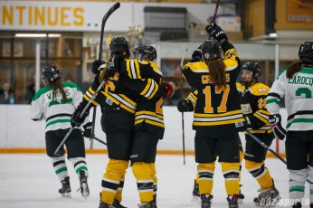 The Boston Blades celebrate forward Kate Leary's (28) goal, assisted by Kaitlin Spurling (16)