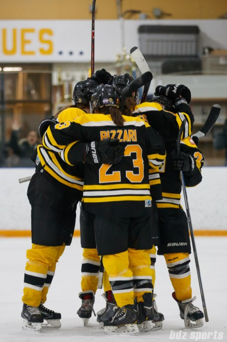 The Boston Blades celebrate Kate Leary's (28) goal